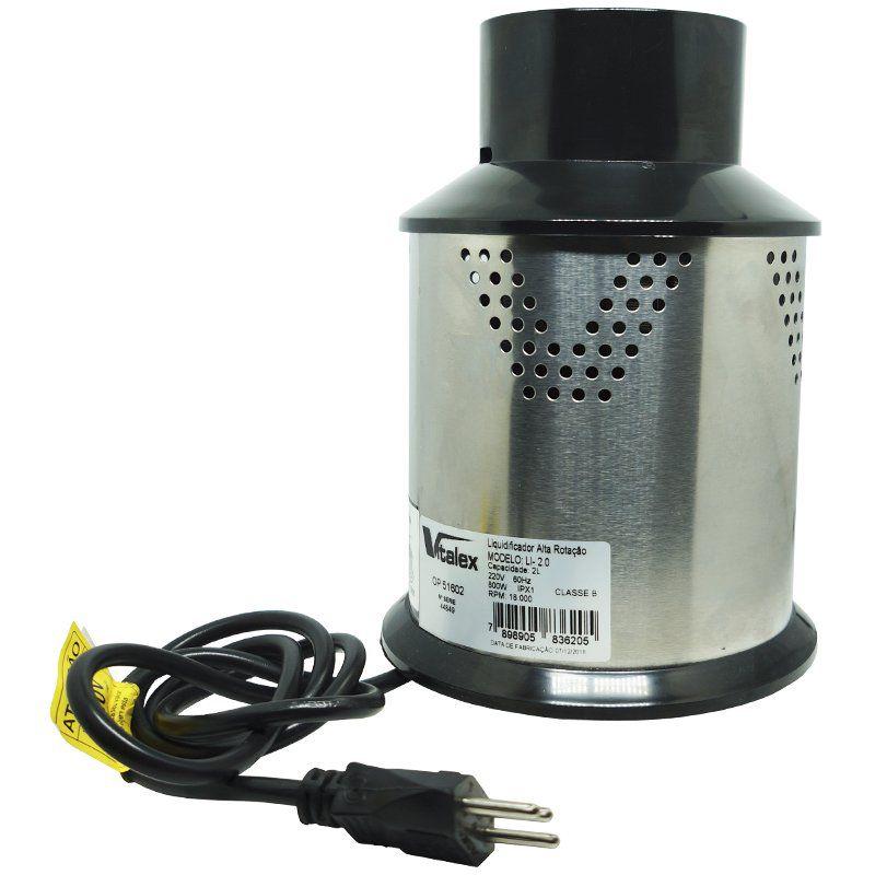 Liquidificador Industrial Profissional 2 Litros 800W 220V Alta Rotação Vitalex LI-02/220 Copo Inox