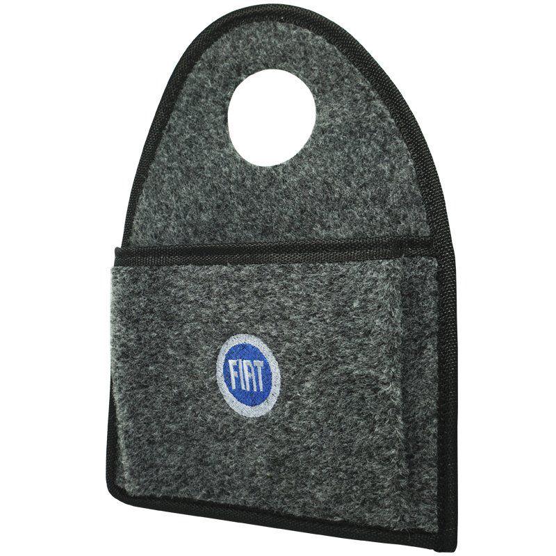 Lixeira Lixinho Automotiva Carro Carpete Logo Bordado Fiat Azul para Câmbio Grafite