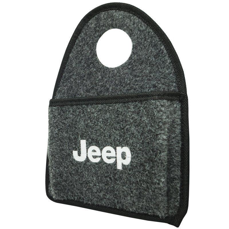Lixeira Lixinho Automotiva Carro Carpete Logo Bordado Jeep para Câmbio Grafite