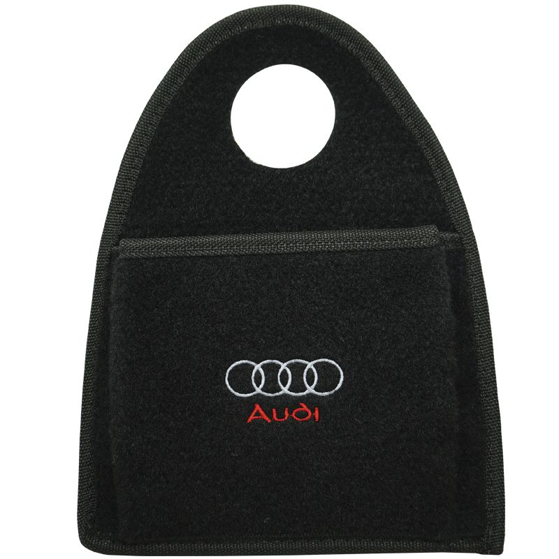 Lixeira Lixinho Automotiva Carro Carpete Logo Bordado Audi para Câmbio Preta