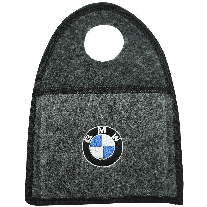 Lixeira Lixinho Automotiva Carro Carpete Logo Bordado BMW para Câmbio Grafite