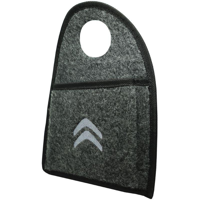Lixeira Lixinho Automotiva Carro Carpete Logo Bordado Citroen para Câmbio Grafite