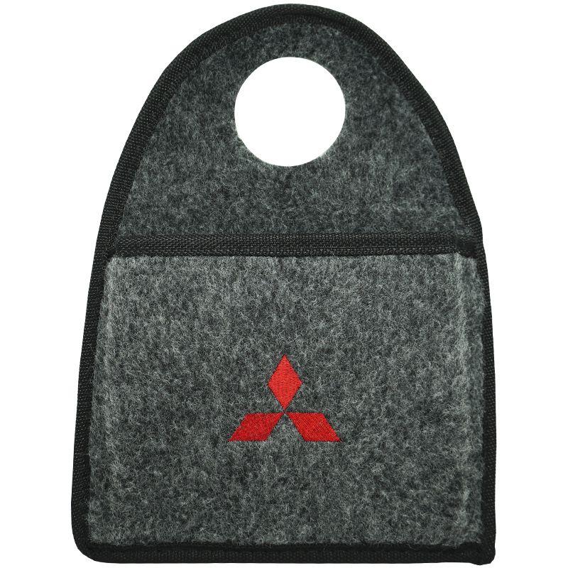 Lixeira Lixinho Automotiva Carro Carpete Logo Bordado Mitsubishi para Câmbio Grafite