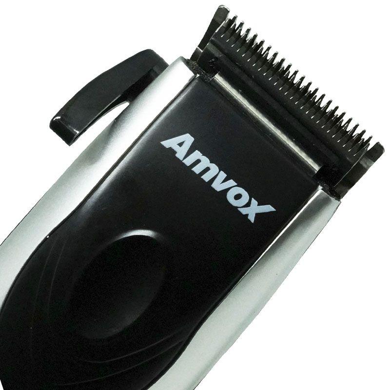 Máquina de Cortar Cabelo Aparar Barba Pezinho Elétrica 110V Amvox AM 760 Prata/Preta  - BEST SALE SHOP