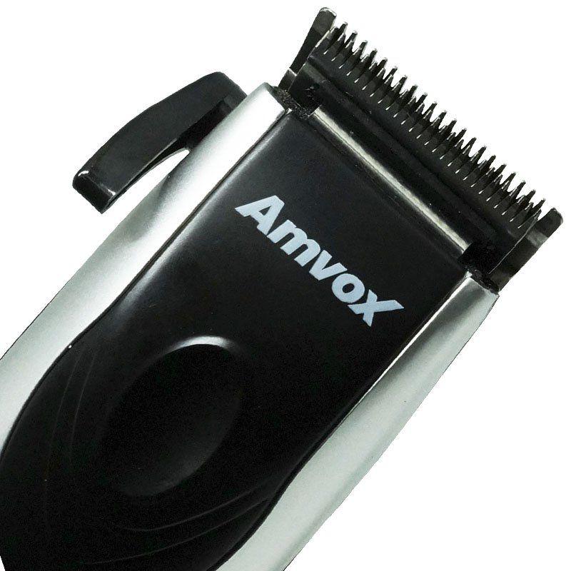 Máquina de Cortar Cabelo Aparar Barba Pezinho Elétrica 220V Amvox AM 760 Prata/Preta