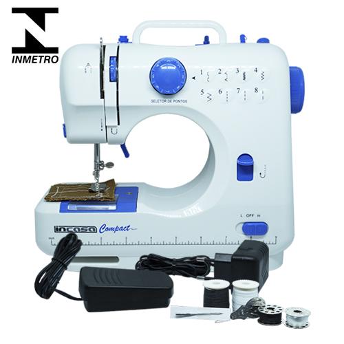 Máquina de Costura Portátil Bivolt Incasa Compact GF1000 Branco e Azul com Inmetro  - BEST SALE SHOP
