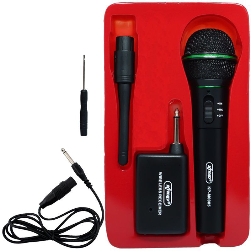 Microfone sem Fio Profissional Wireless P10 para Karaokê e Caixa de Som Knup KP-M0005 Preto