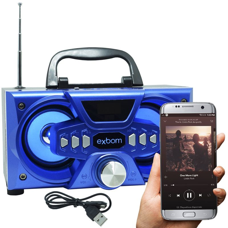 Mini Caixa Som Bluetooth Amplificada Mp3 Fm Usb Sd Azul 10w Rms Exbom CS-M227BT  - BEST SALE SHOP
