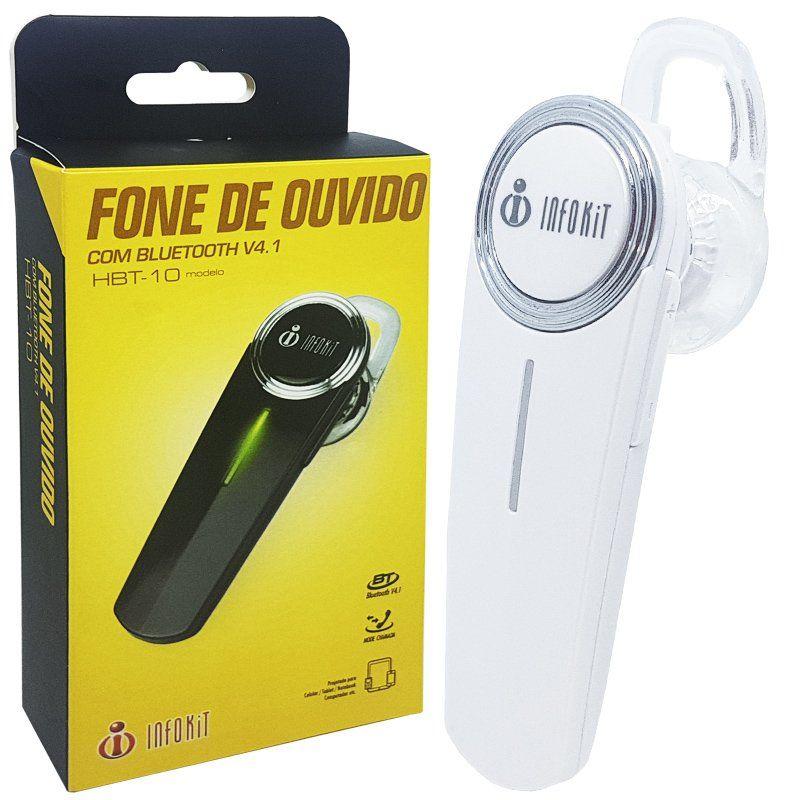Mini Fone de Ouvido Bluetooth 4.1 com Microfone sem Fio para Celular Infokit HBT-10 Branco