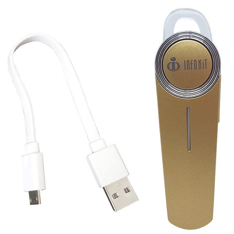 Mini Fone de Ouvido Bluetooth 4.1 com Microfone sem Fio para Celular Infokit HBT-10 Dourado