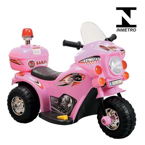 Mini Moto Elétrica Infantil Triciclo Criança Bateria 6V Importway BW002-R Rosa Polícia Bivolt