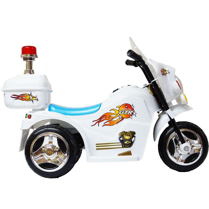 Mini Moto Elétrica Triciclo Criança Infantil Bateria 6V Importway BW006 Polícia Luz Som Bivolt