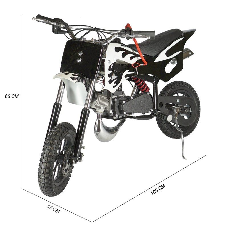 Mini Moto Infantil Gasolina 2 Tempos 49CC Cross Trilha Off Road Importway DTCR-008 Dirt Preta