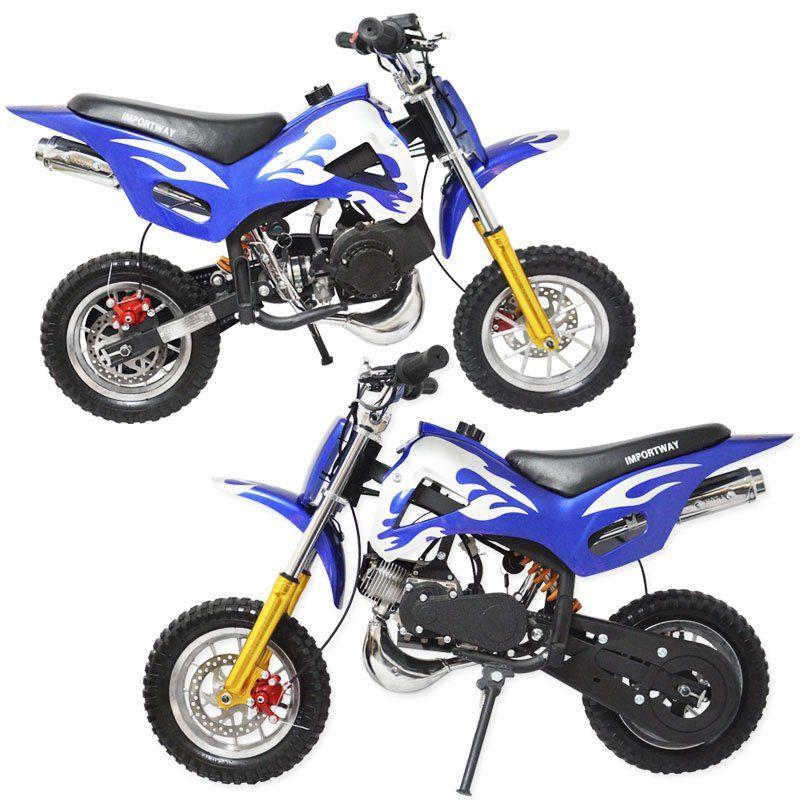 Mini Moto Infantil Gasolina 2 Tempos 49CC Cross Trilha Off Road Importway WVDB-006 Dirt Azul
