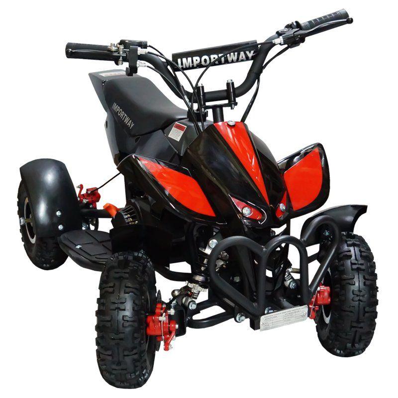 Mini Quadriciclo Infantil Gasolina Atv 49CC 2T Cross Trilha Off Road Importway WVATV-002P Preto