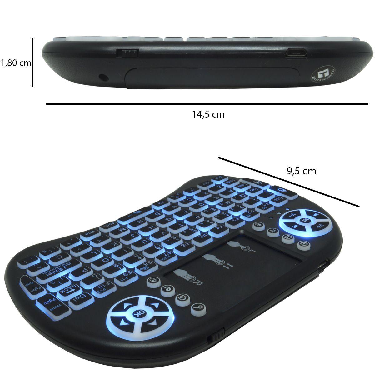Mini Teclado Mouse Iluminado Led Touchpad Wireless Bluetooth Wifi Sem Fio Tv Smart Usb I8 Preto