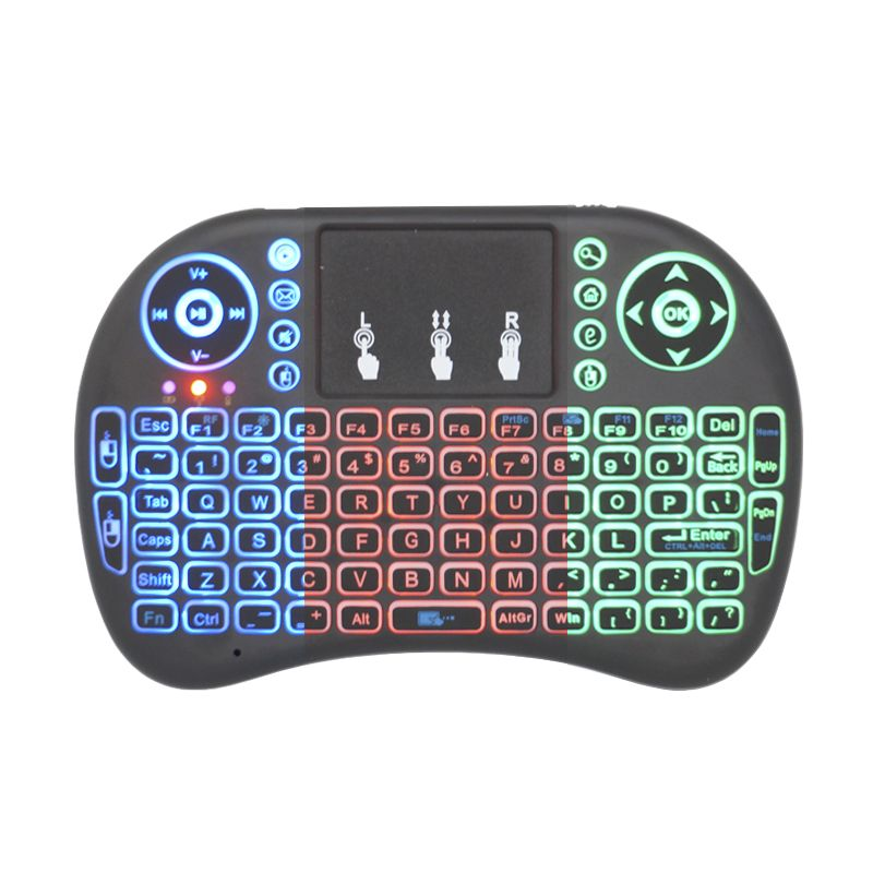 Mini Teclado Mouse Touchpad Wireless Bluetooth Iluminado Wifi Sem Fio I8.LED Tv Smart Box Usb Preto