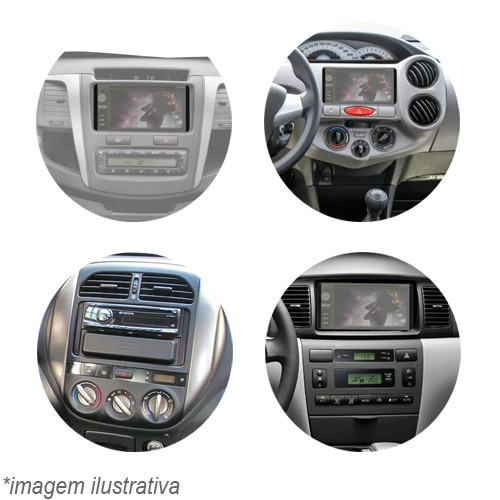 Moldura Painel 2 Din Dvd Fielder Corolla 03 à 08 Sw4 Hilux 05 à 11 Etios 12 à 14 Rav 02 à 06 Preto