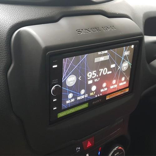 Moldura Painel 2 Din Dvd Jeep Renegade 2015 à 2017 Preto Emborrachado