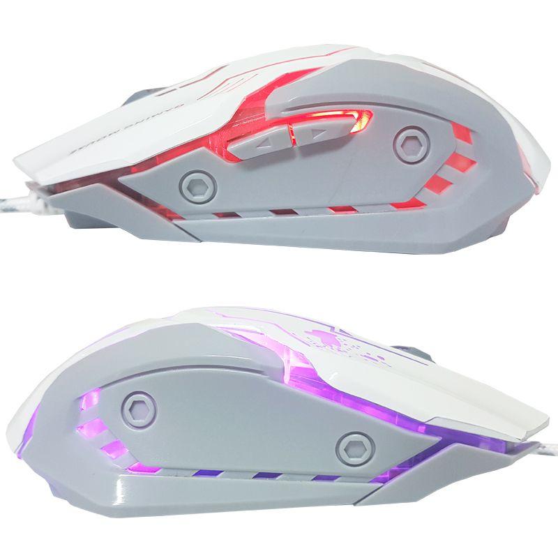 Mouse Óptico Gamer Usb 3200 Dpi 6 Botões Led Rgb 7 Cores Cabo Infokit X Soldado GM-600 Branco