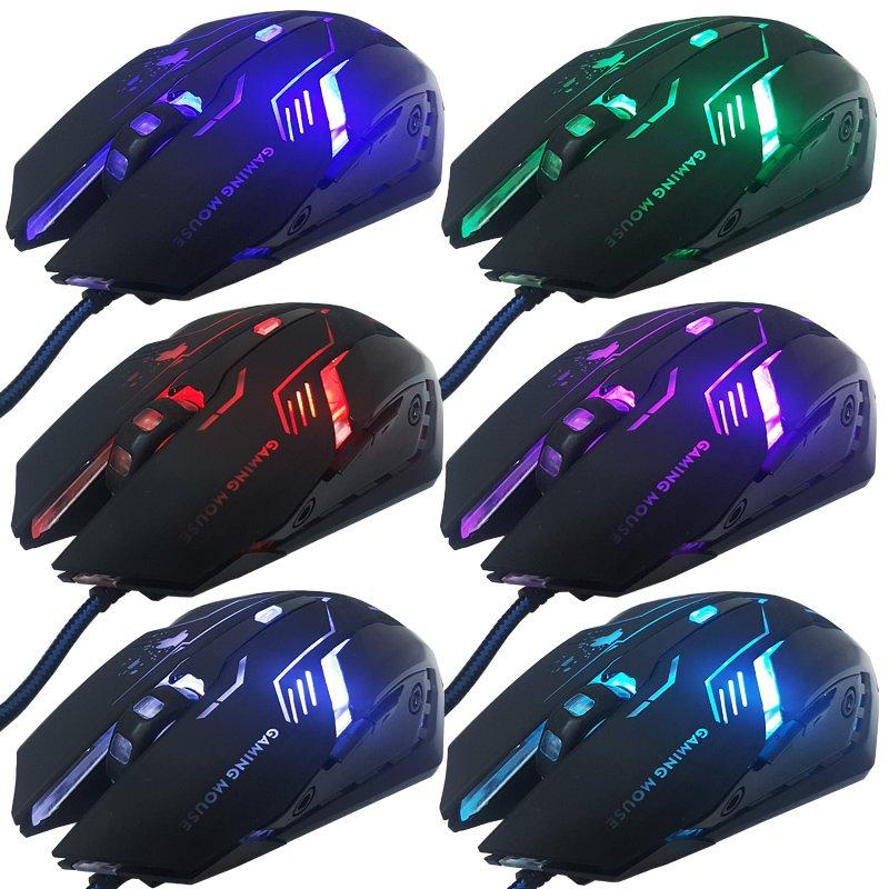Mouse Óptico Gamer Usb 3200 Dpi 6 Botões Led Rgb 7 Cores Cabo Infokit X Soldado GM-600 Preto