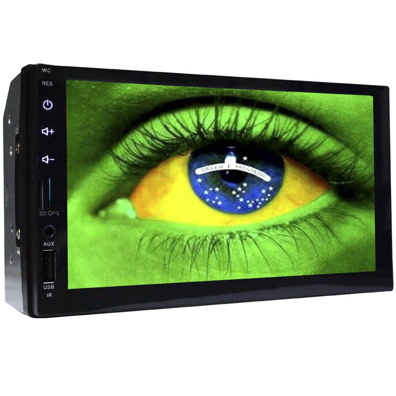 Multimídia Mp5 Automotivo 2 Din Tela 7 First Option MID-7820 Fm Usb Aux Bluetooth Espelhamento Gps