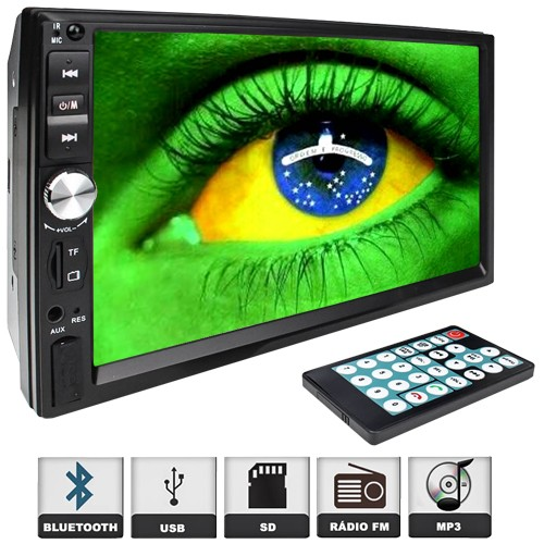 Multimídia Mp5 Vídeo Player Automotivo 2 Din Tela 7.0 Exbom Som Fm Usb Sd Aux Bluetooth Câmera de Ré
