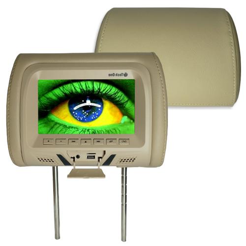 Par Encosto Cabeça Tela Monitor Leitor Dvd Tech One Standard Bege  - BEST SALE SHOP