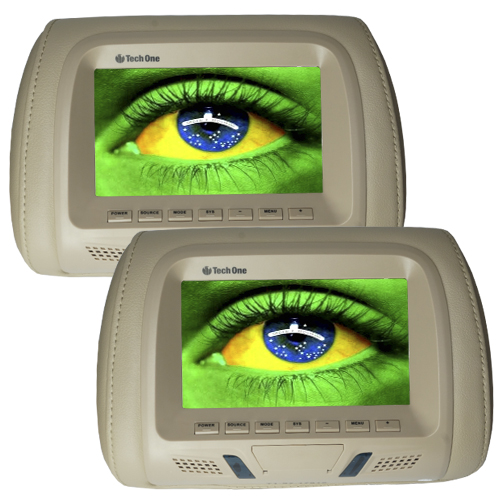 Par Encosto Cabeça Tela Monitor Usb SD IR Tech One Standard Bege  - BEST SALE SHOP