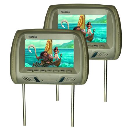 Par Encosto Cabeça Tela Monitor Usb SD IR Tech One Standard Cinza