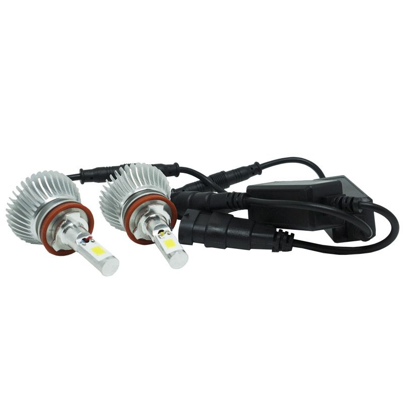 Kit Par Lâmpada Super Led Automotiva Farol Carro H11 6000 Lumens 12V 24V First Option 6000K  - BEST SALE SHOP
