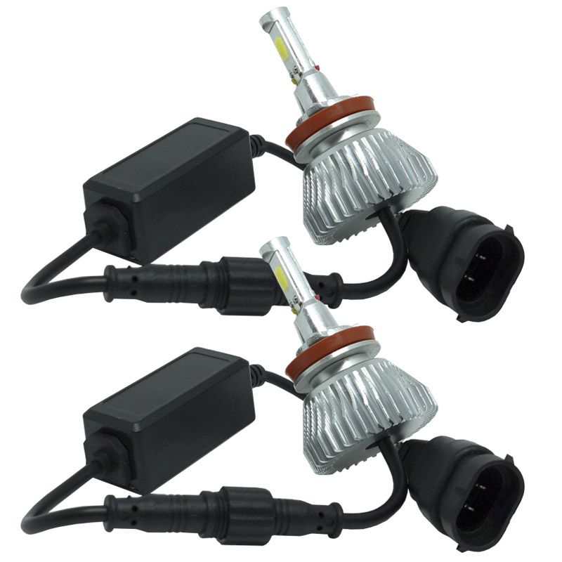 Kit Par Lâmpada Super Led Automotiva Farol Carro H11 6000 Lumens 12V 24V First Option 6000K