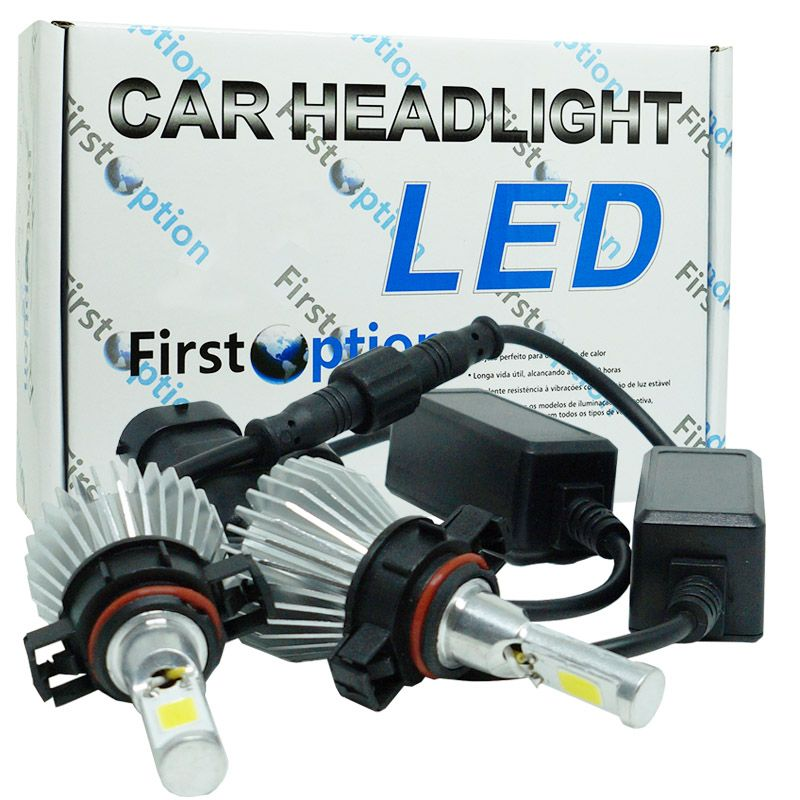 Kit Par Lâmpada Super Led Automotiva Farol Carro H16 6000 Lumens 12V 24V First Option 6000K