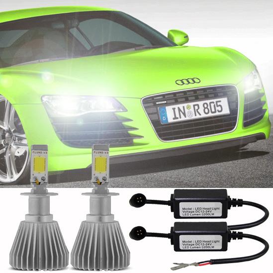 Par Lâmpada Super Led 6400 Lumens 12V 24V H11+H11+Hb3 6000K  - BEST SALE SHOP