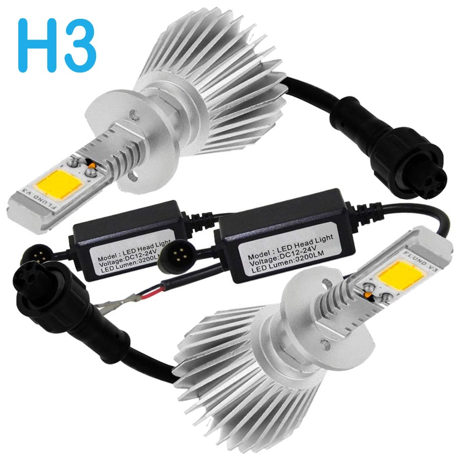 Par Lâmpada Super Led 6400 Lumens 12V 24V H3 6000K