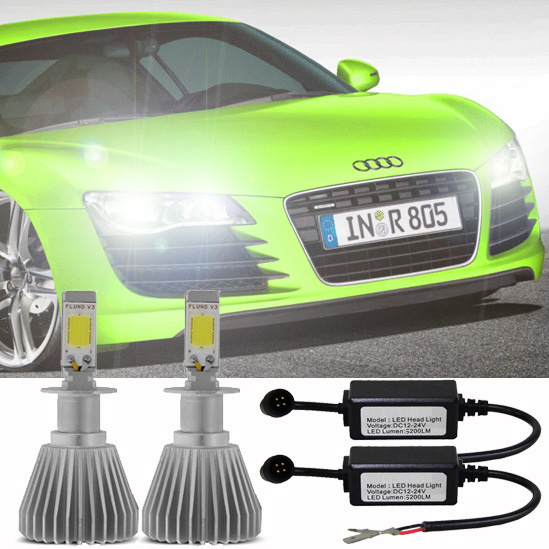 Par Lâmpada Super Led 6400 Lumens 12V 24V H4+H27 6000K  - BEST SALE SHOP