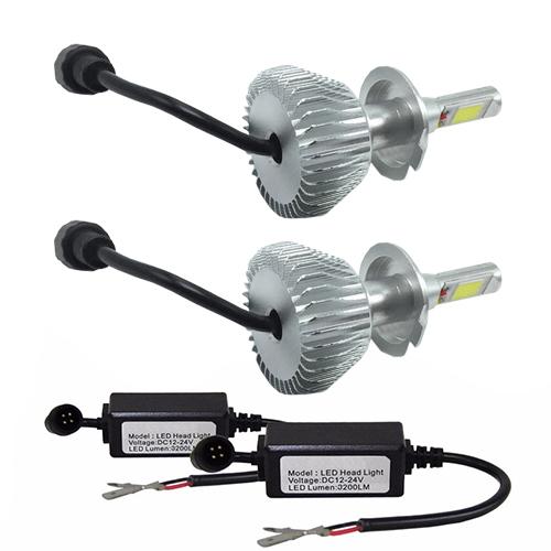 Par Lâmpada Super Led 6400 Lumens 12V 24V H7+H27 6000K  - BEST SALE SHOP