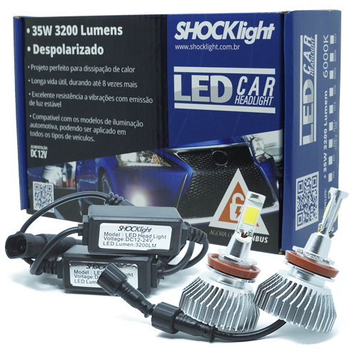 Par Lâmpada Super Led 6400 Lumens 12V 24V 35W Shocklight H11 6000K  - BEST SALE SHOP