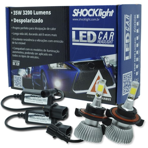 Par Lâmpada Super Led 6400 Lumens 12V 24V 35W Shocklight H13 (Bi) 6000K