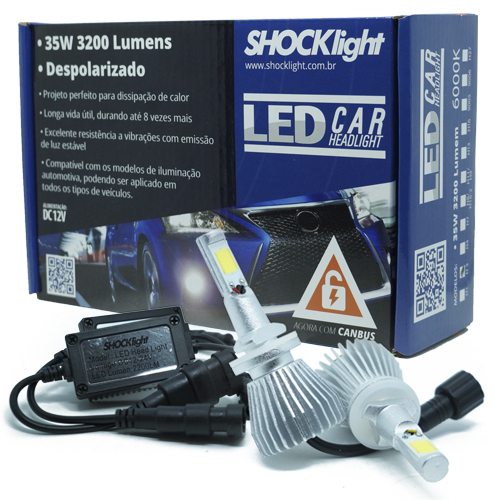 Par Lâmpada Super Led 6400 Lumens 12V 24V 35W Shocklight H27 6000K