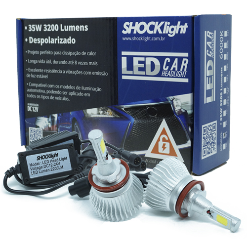Par Lâmpada Super Led 6400 Lumens 12V 24V 35W Shocklight H8 6000K  - BEST SALE SHOP