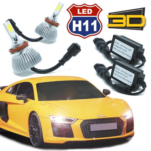 Par Lâmpada Super Led 7400 Lumens 12V 24V 3D H11 6000K
