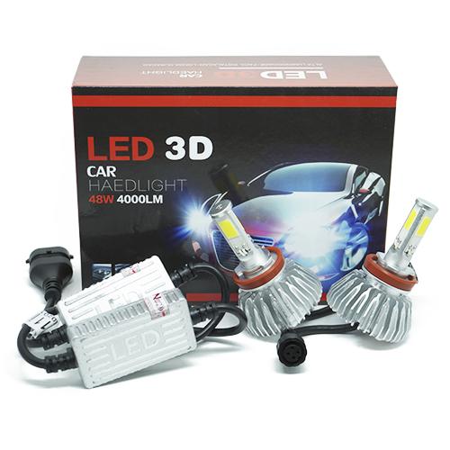 Par Lâmpada Super Led 8000 Lumens 12V 24V 48W Seven Parts 3D H11 6000K