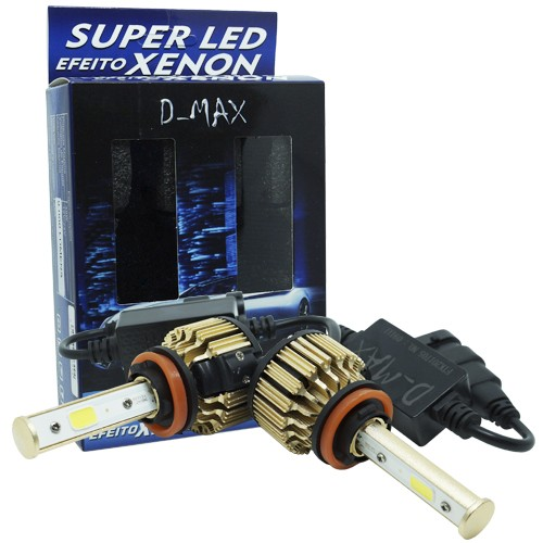 Par Lâmpada Super Led Automotiva Kit 9000 Lumens 12V 24V 48W D-Max Farol H11 6000K