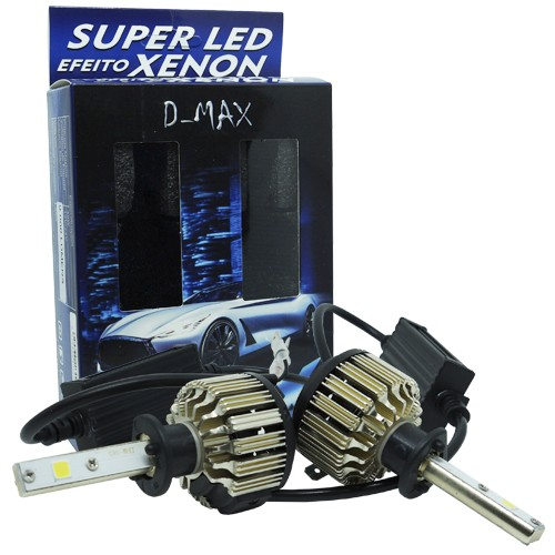 Par Lâmpada Super Led Automotiva Kit 9000 Lumens 12V 24V 48W D-Max Farol H1 6000K  - BEST SALE SHOP