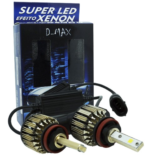 Par Lâmpada Super Led Automotiva Kit 9000 Lumens 12V 24V 48W D-Max Farol H8 6000K  - BEST SALE SHOP