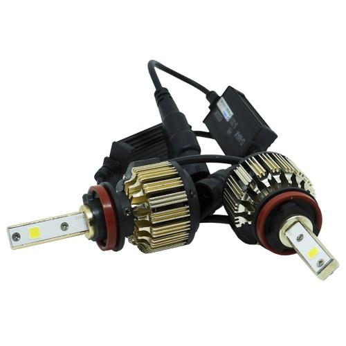 Par Lâmpada Super Led Automotiva Kit 9000 Lumens 12V 24V 48W D-Max Farol H8 6000K