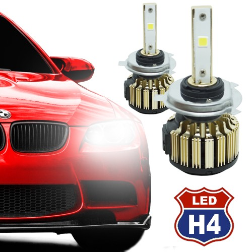 Par Lâmpada Super Led Automotiva Kit 9000 Lumens 12V 24V Farol H4 (Bi - baixa e alta) 6000K  - BEST SALE SHOP