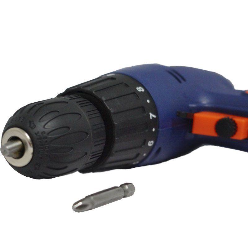 Parafusadeira e Furadeira Elétrica 280W 110V 9 Velocidades Mandril 3/8 Fort FT-1000 Azul