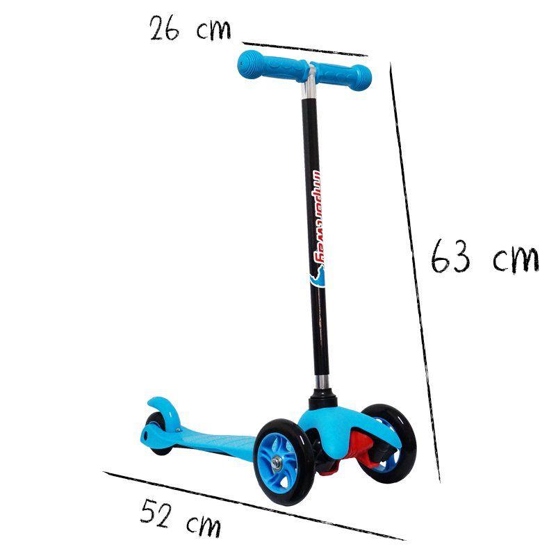 Patinete Infantil 3 Rodas em Gel Freio Masculino Menino Azul Importway BW-011-AZ